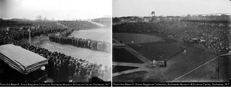 All of Ruth's appearances were at Baseball Park on Bay Street. (left) The first Opening Day of the park, 1909 (right) The Rochester Hustlers playing Newark in 1910.