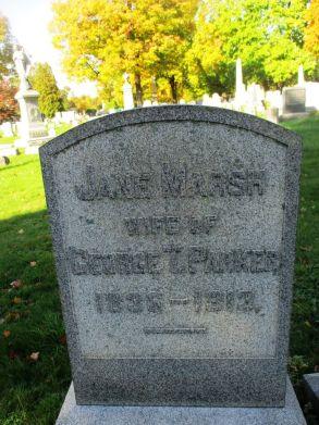 Parker's grave in Mt. Hope Cemetery. Parker wrote several short stories and a novel, Midnight Cry, based on her childhood experiences as a Millerite. [Photo: David Kramer, 10/21/19]