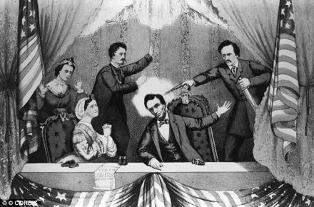 An illustration shows John Wilkes Booth assassinating President Lincoln at Ford's Theatre on April 14, 1865