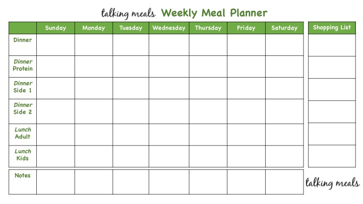 Weekly Meal Plans ~ Talking Meals