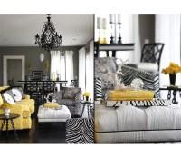 Gray Yellow White Living Room