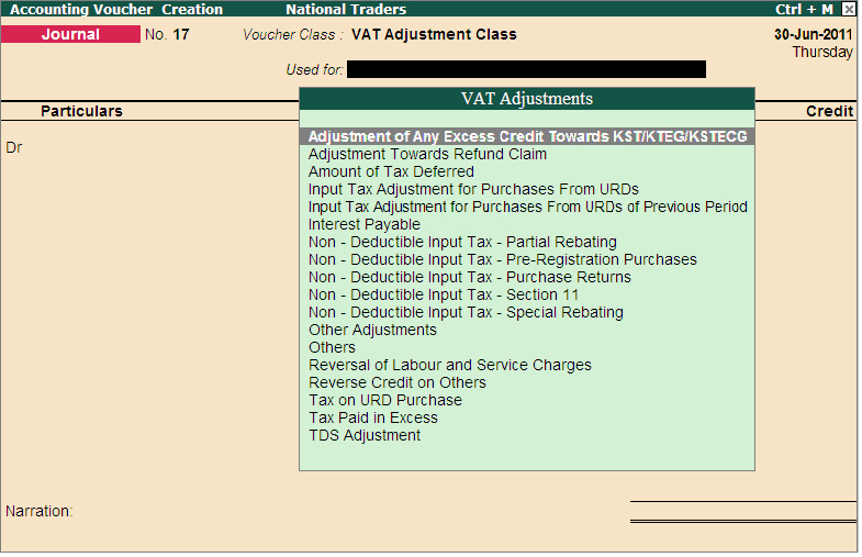 How do I create a voucher class in journal voucher to account for