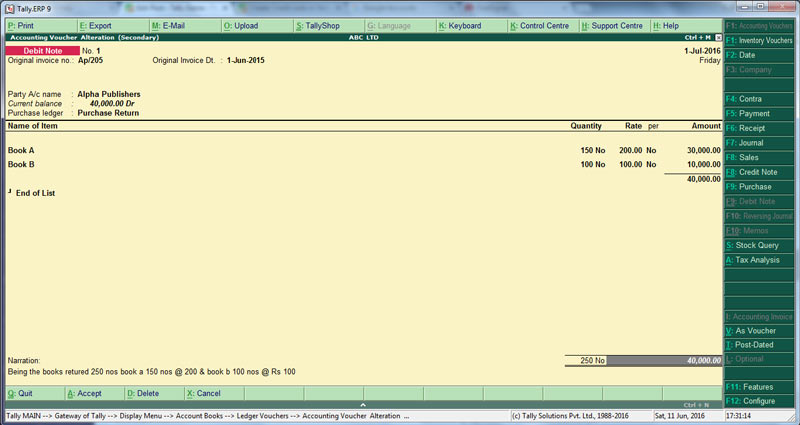 How to enter Debit Note in TallyERP 9,Voucher entry - debit note and invoice