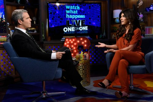 WATCH WHAT HAPPENS LIVE -- Episode 13027 -- Pictured: (l-r) Andy Cohen, Teresa Giudice -- (Photo by: Peter Kramer/Bravo)