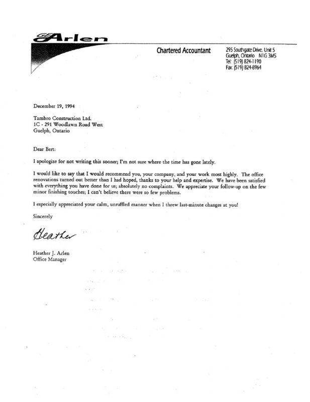 Reference Letters Tambro Construction - company referral letter