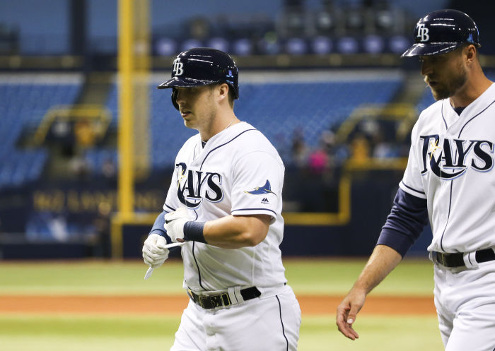Tampa Bay Rays designated hitter Corey Dickerson (10) after flying out to end the the game between the Tampa Bay Rays and the Los Angeles Dodgers in Tropicana Field in St. Petersburg, Fla. on Tuesday, May 3, 2016. The Los Angeles Dodgers beat the Tampa Bay Rays 10-5. (Photo Credit: Will Vragovic/Tampa Bay Times)