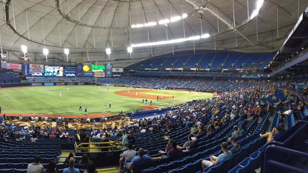 """14,116 baseball fans """"packed"""" into the Trop on Tuesday to watch the Los Angeles Dodgers beat the Tampa Bay Rays 10-5. (Photo Credit: Anthony Ateek/X-Rays Spex)"""