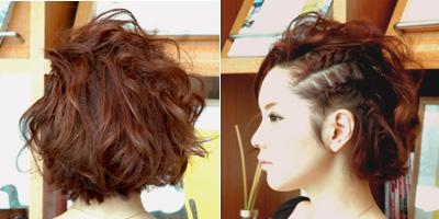 成人式のショートの髪型でサイド編み込みヘアー5