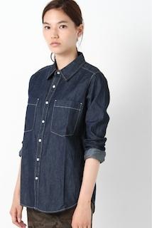 濃いめのブルー色の種類のデニムシャツ