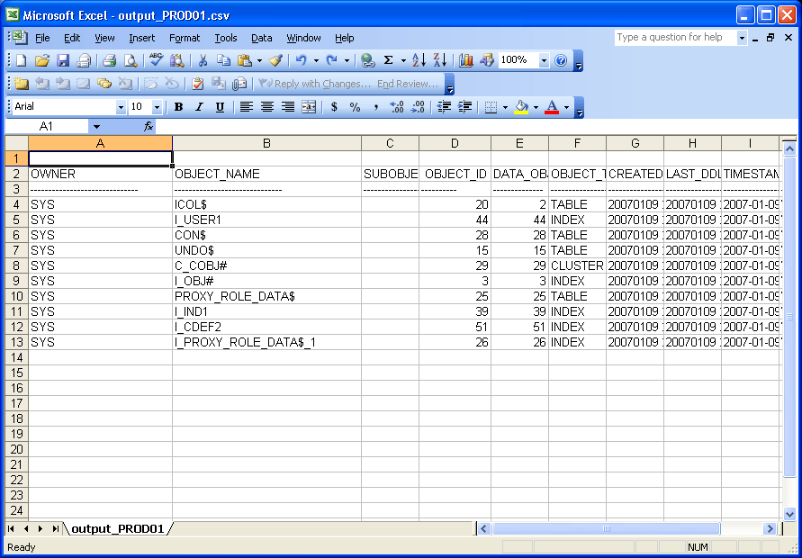 Query output saved into .csv file and opened in Excel