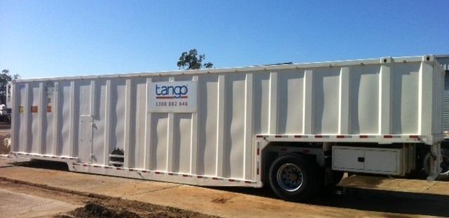 Mobile Frac Tank - side view (Tango Oilfield Rental Solutions)