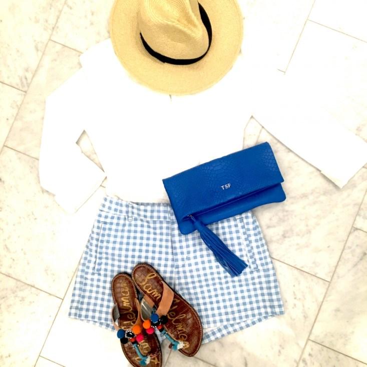 Talbots white top, Joe Fresh gingham shorts. GiGi New York blue clutch, Sam Edelman sandals, straw hat
