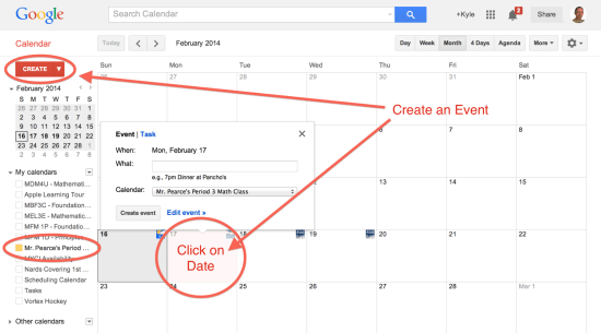 Create an Event By Selecting the Create Button or Selecting a Date