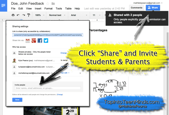 Google Drive Descriptive Feedback - Share and Invite Students and Parents