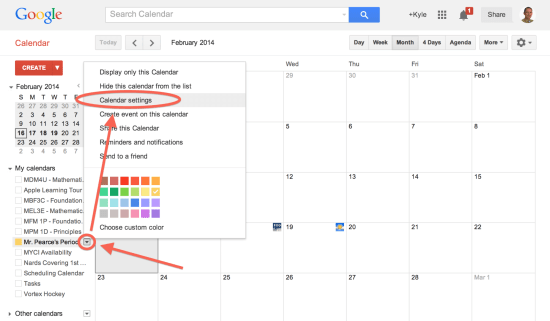 Access the Calendar Settings of the Google Calendar You'd Like Public