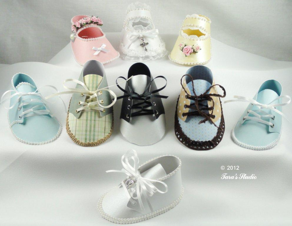 Baby boy and baby girl shoes with cutting files and assembly