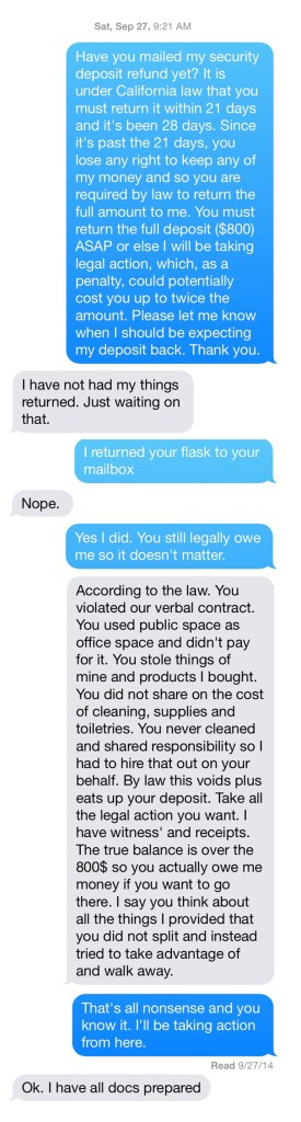security deposit texts
