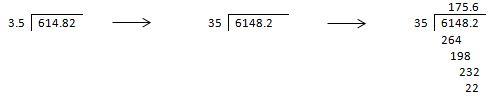 división con el punto en el dividendo y en el divisor