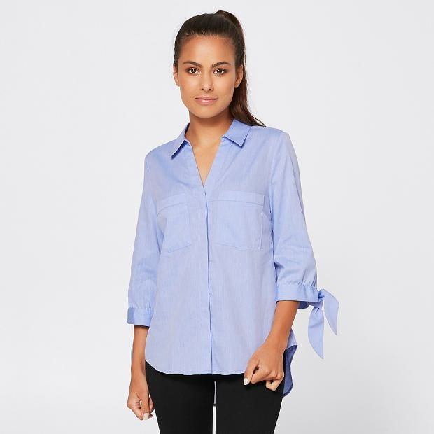 Target Office Wear Dannii Minogue Petites Tie Sleeve Relaxed Shirt Target Australia