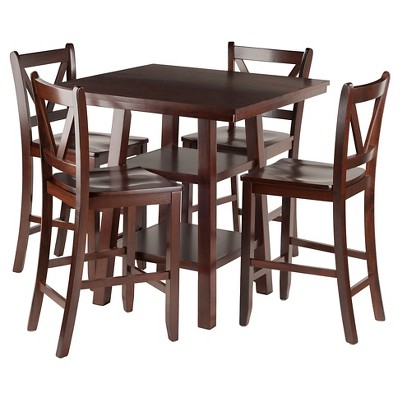 Shop Now For The 5pc Orlando 2 Shelves Counter Height Dining Set Wood Walnut Winsome Accuweather Shop