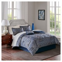 Navy Francis 100% Polyester Jacquard Complete Bed Set ...