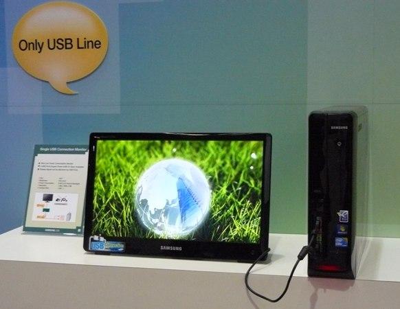 100528 samsungusb 01 [tecnologia] Samsung desenvolve um monitor que usa apenas um cabo USB. Estará disponível em 2011