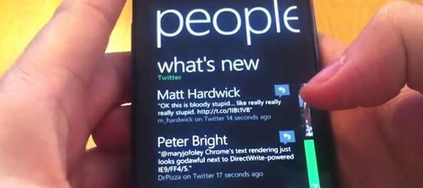 mango twitter integration vid screen Vídeo mostra a integração do Twitter no Windows Phone Mango