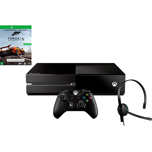 120678140 1GG Dicas de Compras | Xbox One 500 GB  + Game Forza 5 + 14 dias de Live Card, por R$ 1.299