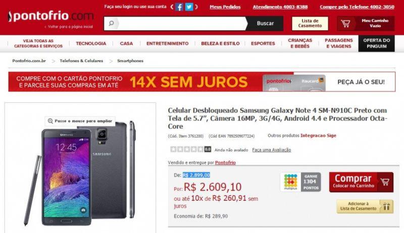 galaxy note 4 pontofrio Samsung Galaxy Note 4 inicia a sua pré venda no Brasil
