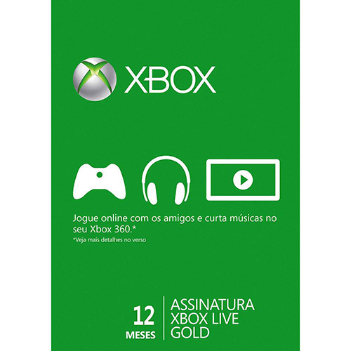 116180998 1GG Black Friday 2014   Live Card Microsoft Gold 12 meses XBOX 360, por R$ 70