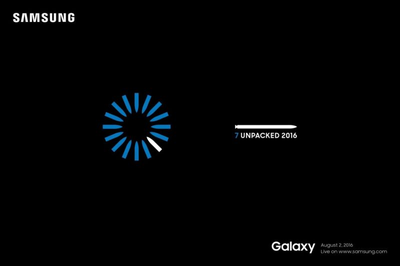 Samsung Galaxy Note 7 convite Unpacked 2016