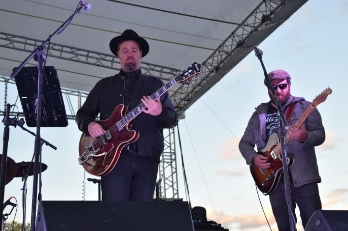 The Eric Krasno Band performing at The Major Rager (2017) in Augusta, Ga. Pictured left to right: Eric Krasno (vocals/guitar) and Danny Mayer (guitar).