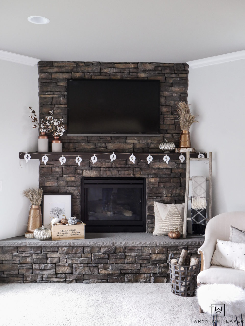 Copper Fireplace Mantel Neutral And Copper Fall Mantel Taryn Whiteaker