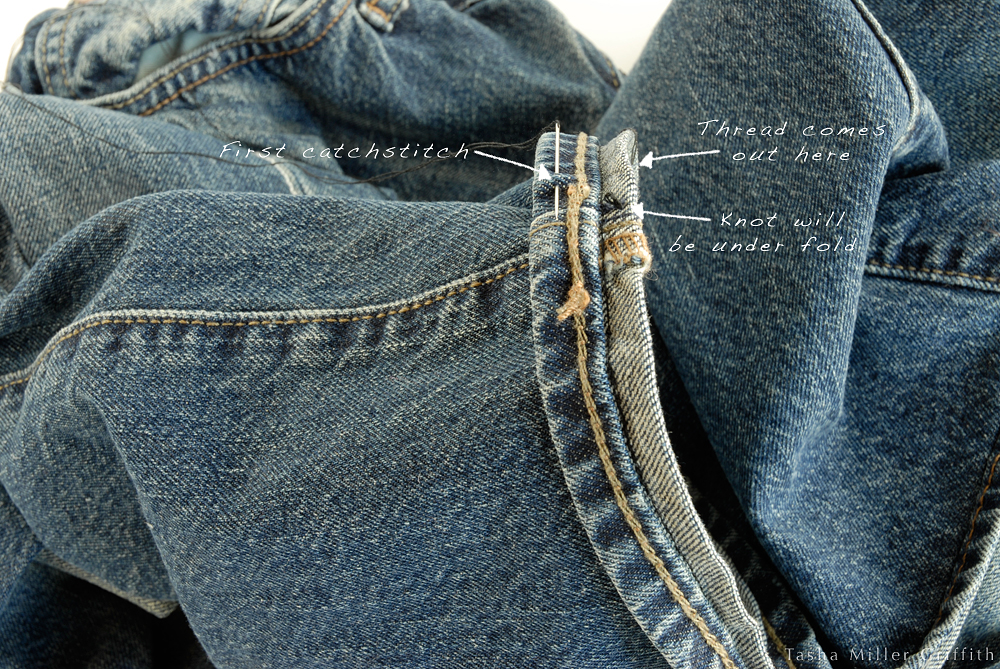 Hemming Jeans Part II, with Catch Stitch Tutorial Stale Bread into