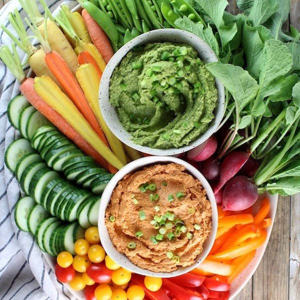 Sun-Dried Tomato Goat Cheese Dip and Spicy Green Hummus