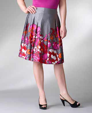 Lane Bryant Grey and Floral Skirt