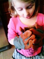 Cara thinks my Fields & Lane gardening gloves will make her plants grow.