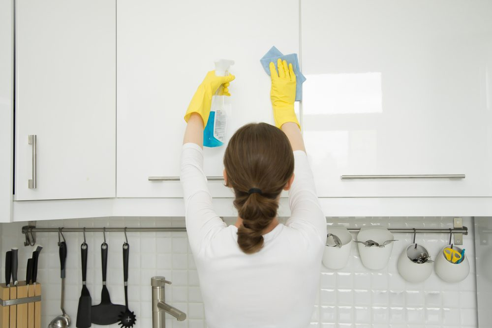 How To Remove Grease From White Kitchen Cabinets How To Clean Kitchen Cabinet Doors | Taste Of Home