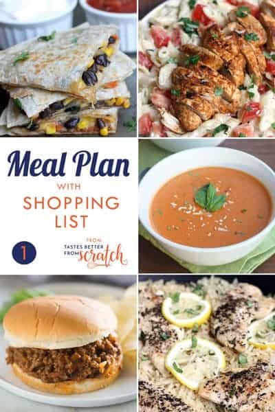 Weekly Meal Plan #1 and Printable Shopping List