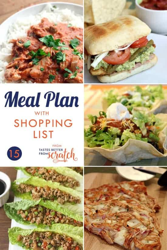 Weekly Meal Plan #15 and Printable Shopping List