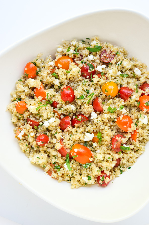 Tomato Herb Quinoa Salad with Goat Cheese (Gluten Free) \u2013 tastythin