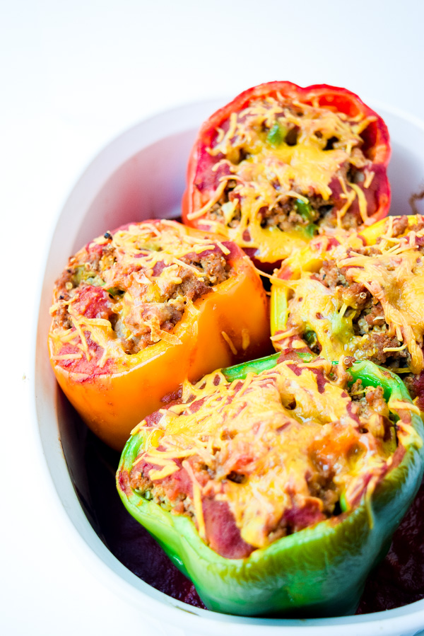 taco turkey quinoa stuffed peppers