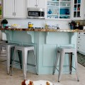 aqua and white kitchen island