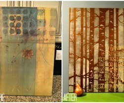 before and after upcycled art