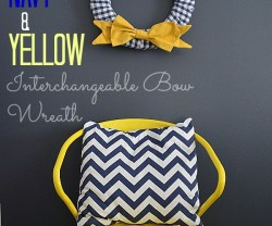navy and yellow interchangeable bow wreath chair