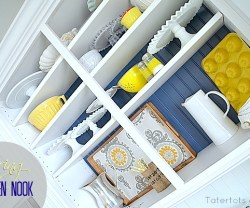 spring navy and yellow open shelves kitchen nook
