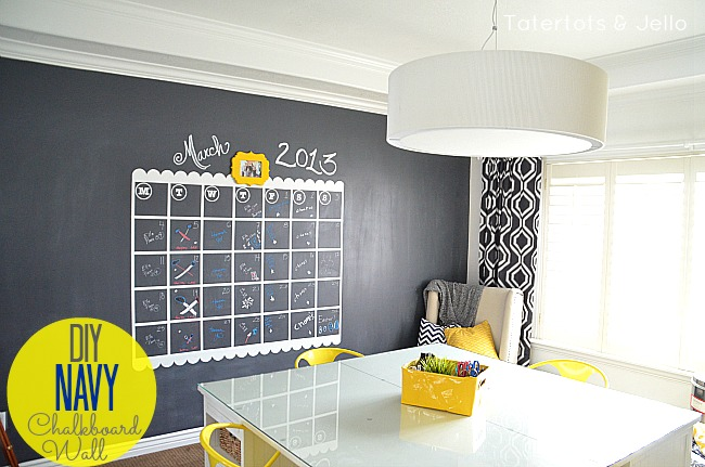 navy chalkboard wall and giant calendar tutorial tatertots and jello. Black Bedroom Furniture Sets. Home Design Ideas