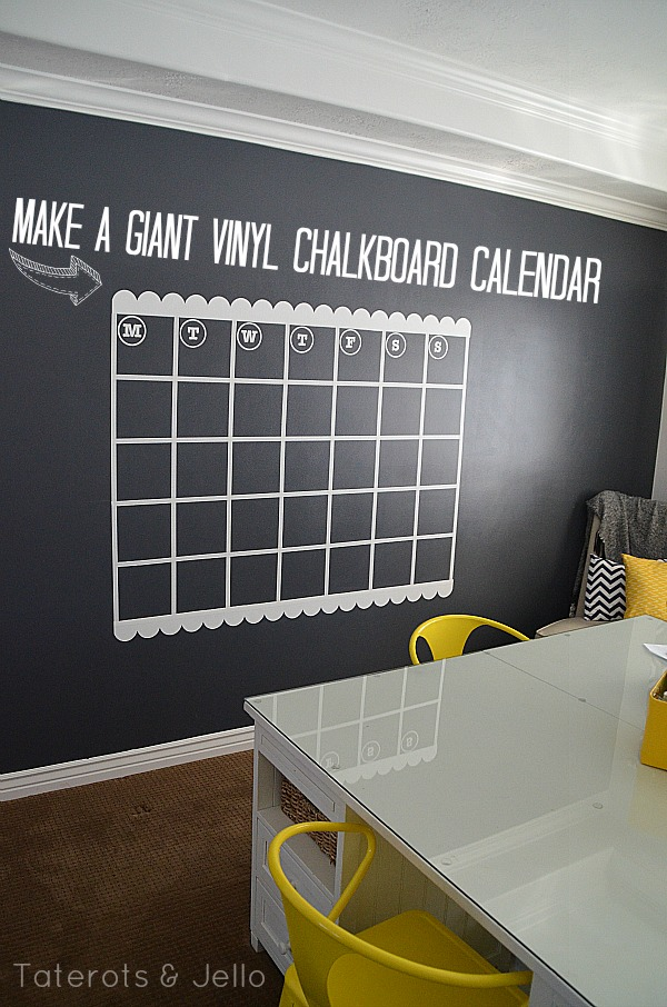 NAVY Chalkboard Wall and GIANT Calendar Tutorial -- Tatertots and ...