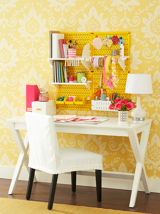 20 inspiring pegboard creative spaces tatertots and jello for Craft room pegboard accessories