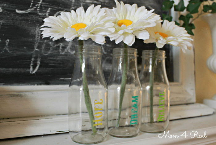 stenciled milk bottles